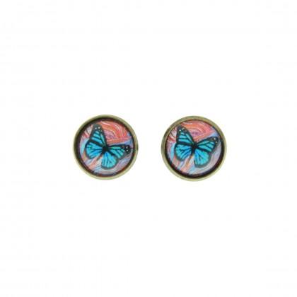 Pendiente de botón - Butterfly