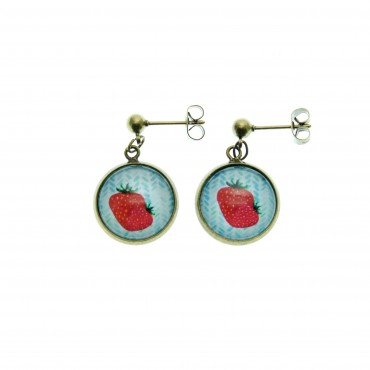 Pendientes de bolita - Strawberry