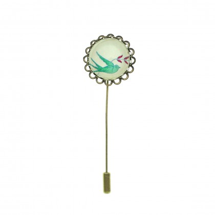 Broche de alfiler - Green Bird