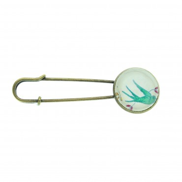 Broche imperdible - Green Bird
