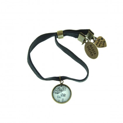Pulsera de terciopelo - Blowing Flower
