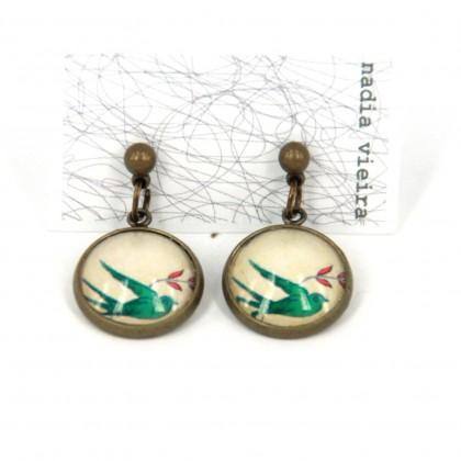 Pendientes de bolita - Green Bird