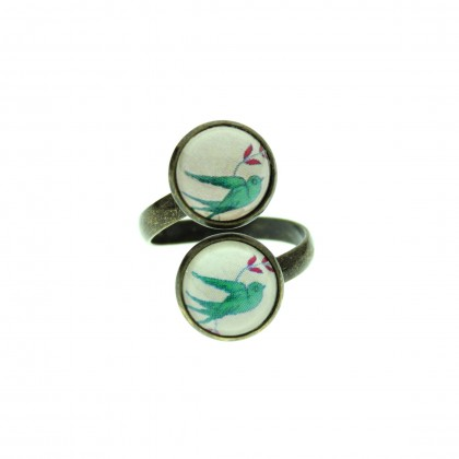 Anillo Doble - Green Bird