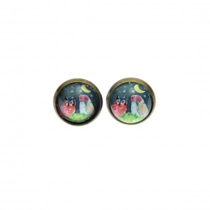 Pendientes de botón - Owl