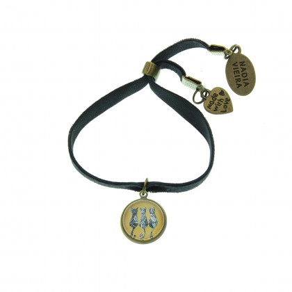 Pulsera de terciopelo - Three Cats