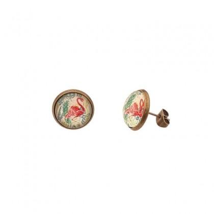 Pendientes de botón - Flamingo