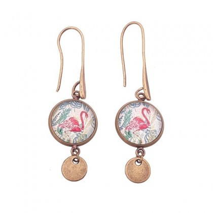 Pendientes de gancho largo P - Flamingo