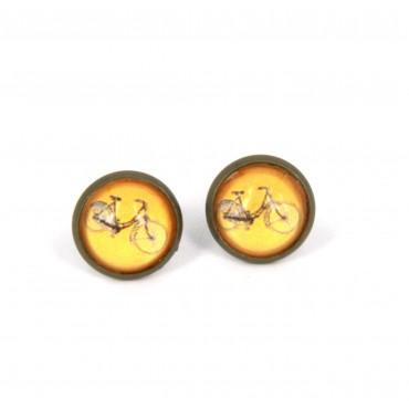 Pendientes de botón - Bici Naranja